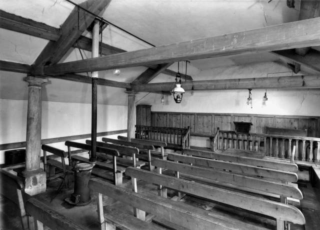 Interior of Mosedale meeting house, 1960-1980 © Historic England Archive BB77/03462