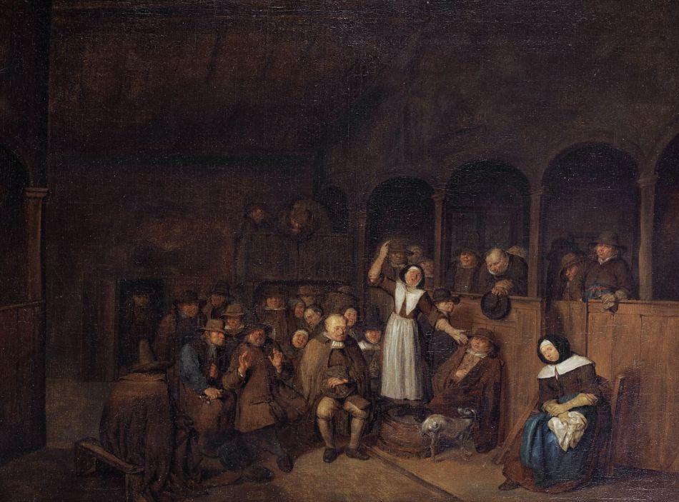 'A Quakers' Meeting' by artist Egbert van Heemskerk, painted in the second half of the 17th century. Image via Wikimedia Commons