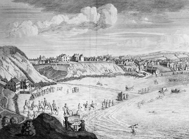 Detail of Engraving of Scarborough by John Setterington 1735 © Historic England Archive. Ref: CC80/00145