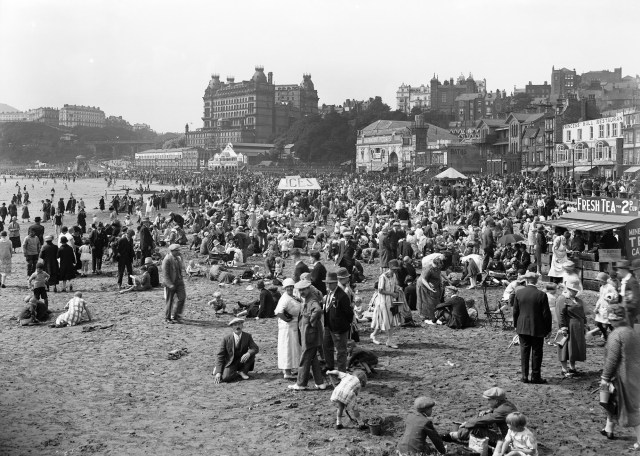 Packed beach at Scarborough