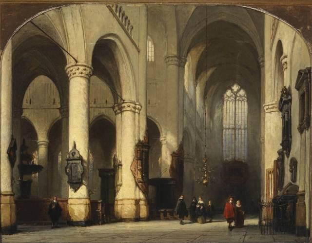 Interior of the Pieterskerk (church of St Peter), Leiden, Holland