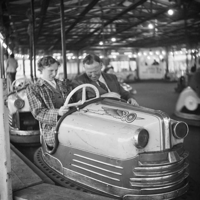 Couple in a dodgem car