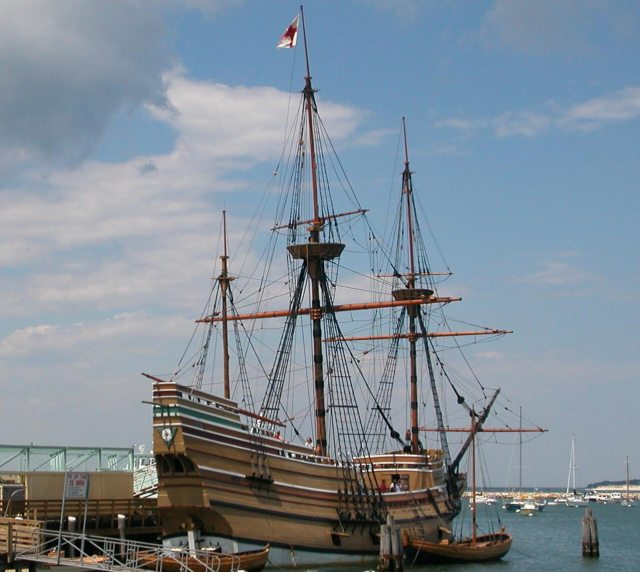 An modern replica of the Mayflower known as Mayflower II, Plymouth, Massachusetts