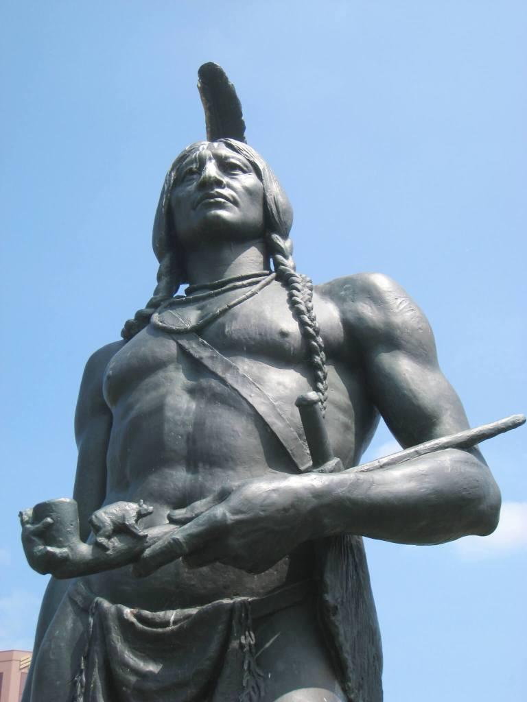 Bronze sculpture of Massasoit by Cyrus E. Dallin