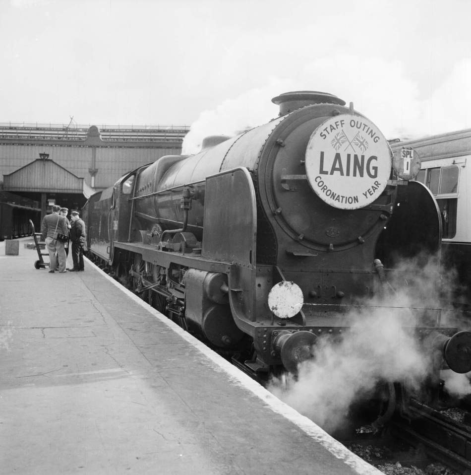A chartered John Laing train leaving Waterloo station