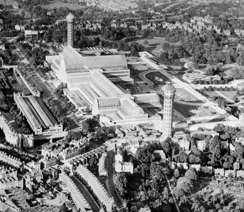 The Crystal Palace, Sydenham Hill, London in late 1930s. This enormous glass and cast iron exhibition centre, showcasing the culture and industry of Britain and her Empire, had been relocated from Hyde Park in 1854. Baird moved home to within walking distance © Historic England Archive AA63 02545