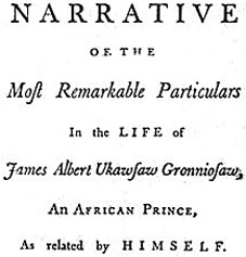 Front page of Ukawsaw Gronniosaw's narrative