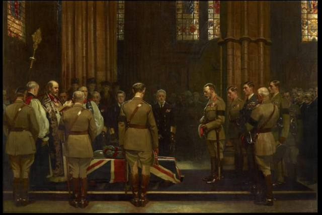 A painting depicts a group of men, most in military uniforms, gathered to pay their respects around a coffin draped with a union flag