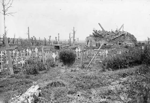 Alt text could read: Black and white photo of ruined landscape with war damaged trees, unkept grass and a stretch of wooden crosses of varying size, design and uprightness.