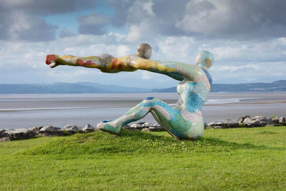 Venus and Cupid Sculpture by Shane A Johnstone commemorating the cockle-pickers who died in Morecambe Bay in 2004, Scalestone Point, Morecambe, Lancashire, 2017 © Historic England Archive DP174971