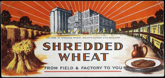 Shredded Wheat advert with factory and the wheat