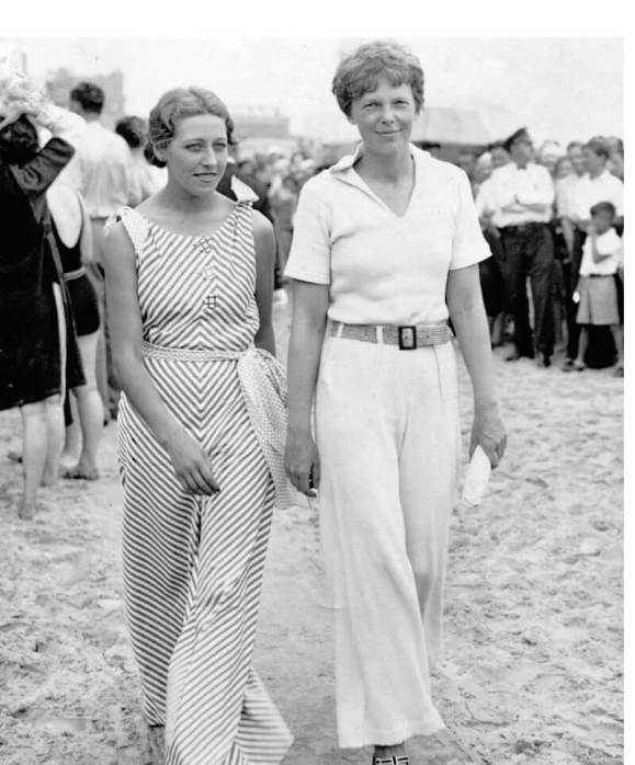 Amy Johnson (left) and Amelia Earhart in New York,
