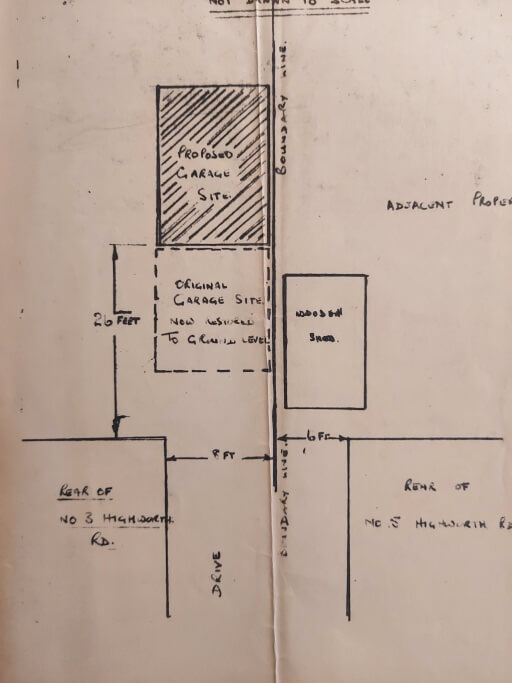 Plan showing proposed site of new garage, 1967.