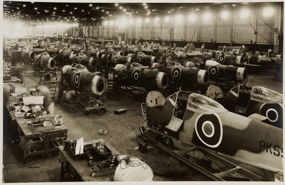 Spitfire fuselage assembly shed with  hundreds of half-built spitfires