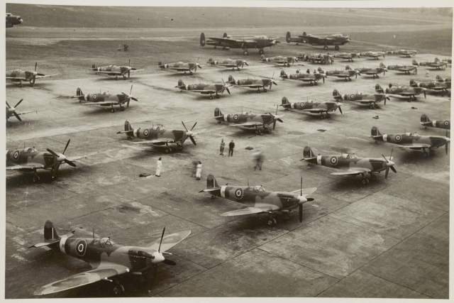 Rows of Mark IX Spitfires