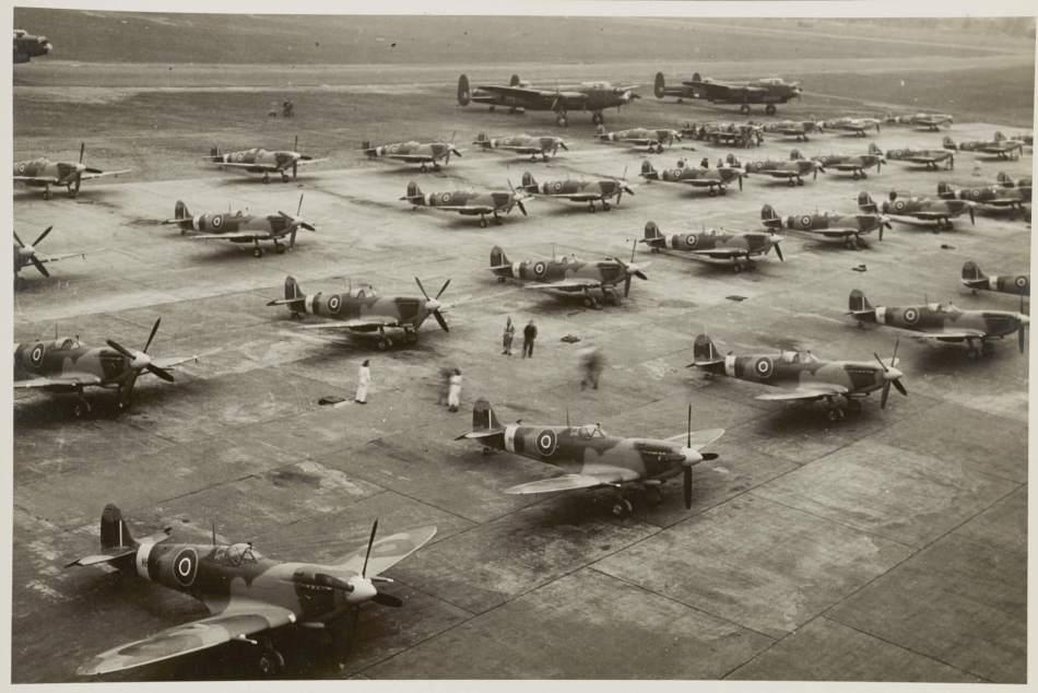 Rows of Mark IX Spitfires