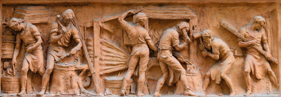 Terracota frieze of cutlers at work