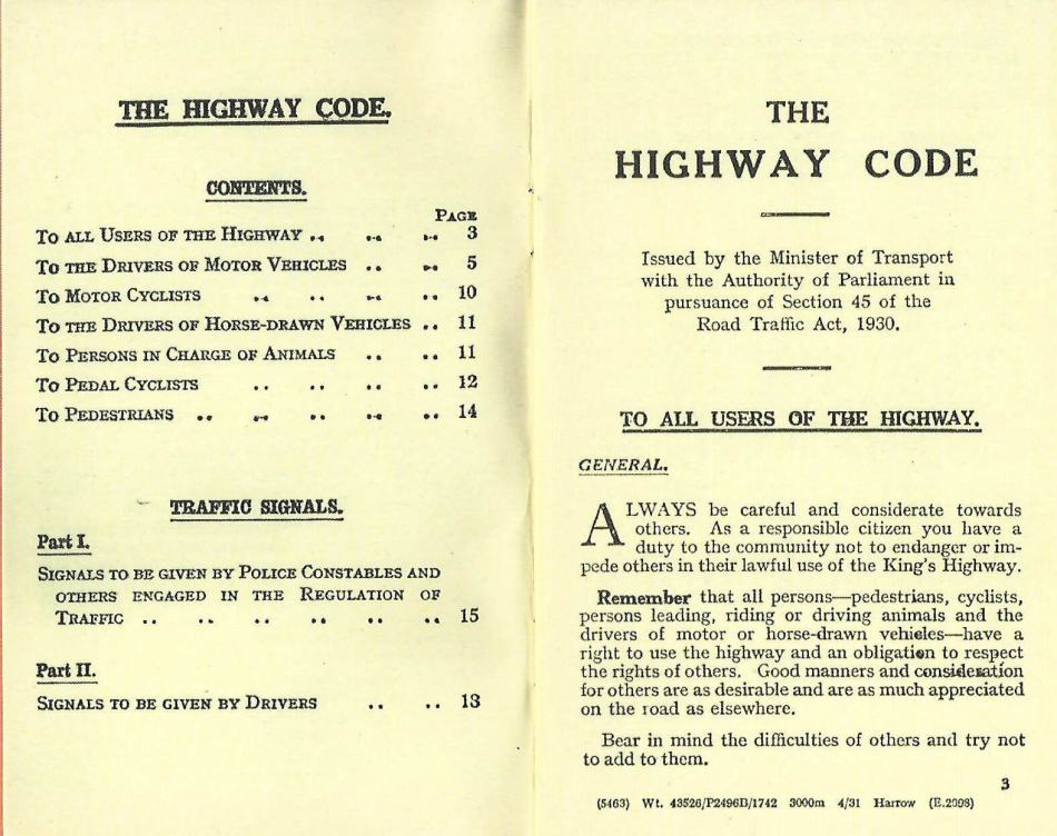 Content of the Highway code: To all users of the highway, to the drivers, to motor cyclists, to drivers of horse-drawn vehicles, persons in charge of animals, cyclists, and pedestrians.