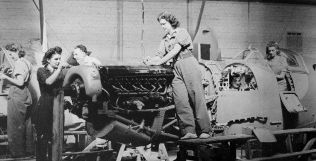 Women working on a Spitfire in a secret factory