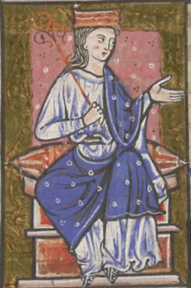 A medieval depiction of a crowned female ruler seated on a throne carrying a sceptre.