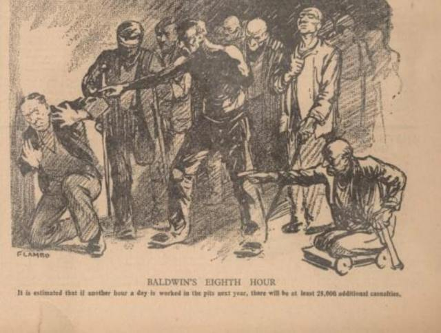 Cartoon of Prime Minister being confronted by miners
