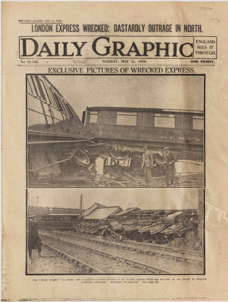 Front page of the pro-government Daily Graphic newspaper, 11 May 1926, showing the derailed 'Flying Scotsman'