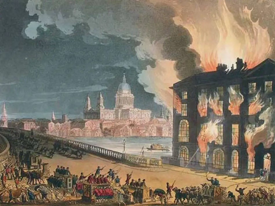Illustration of firefighters spraying water on a burning building at the end of Blackfriars Bridge.