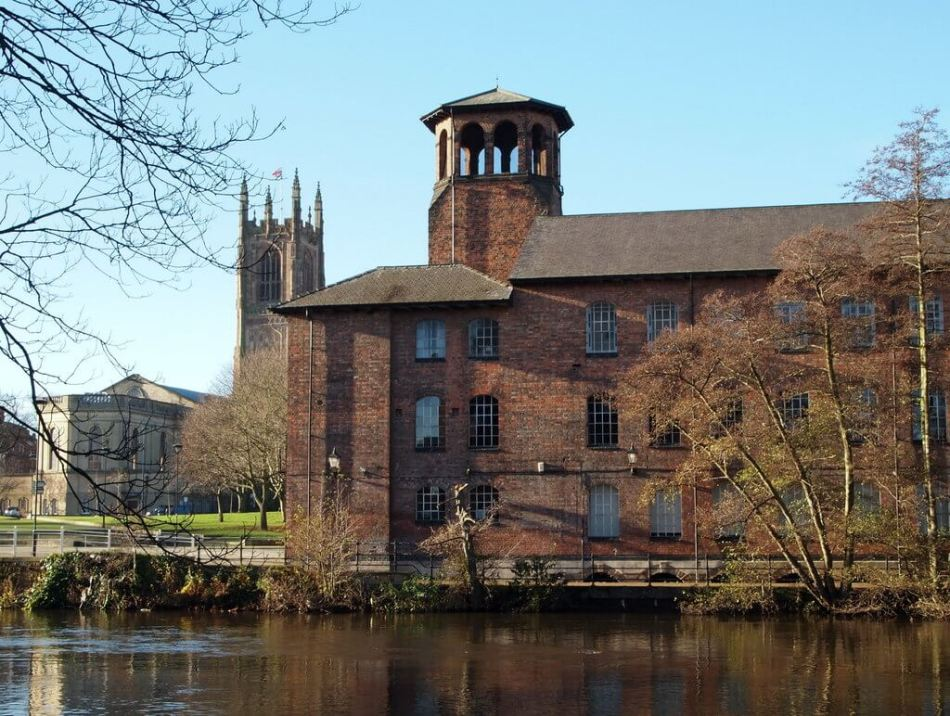 Lombe Mill with Cathedral in background