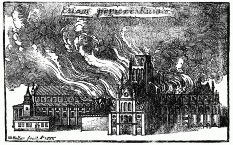 Drawing of Old St Paul's cathedral on fire