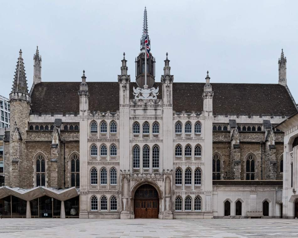 The facade of the Guildhall, an extravagant buidling with spires