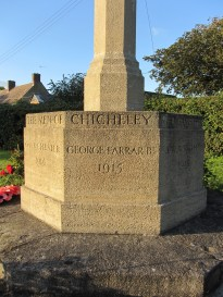 Chicheley War Memorial, Buckinghamshire. Unveiled by Lady Farrar 22 October 1920. Newly listed at Grade II. The patron of this war memorial was Lady Farrar, widow of Sir George Farrar who died in an accident while on active service in Namibia in 1915. He is commemorated on the memorial, as are the eight local servicemen who died in the war; each name and date of death carved on one face of the octagonal plinth's middle tier. Baker had designed a house for the Farrar's in South Africa.