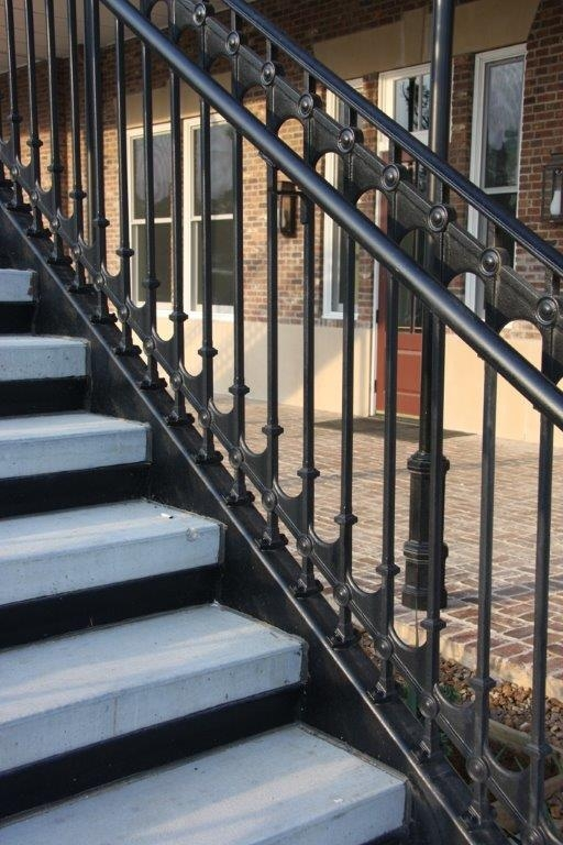 Elegant Traditional Cast Iron Stair And Balcony Railings | Cast Iron Stair Railing | Residential | Horizontal | Chrome Picket Interior | Custom | Iron Baluster