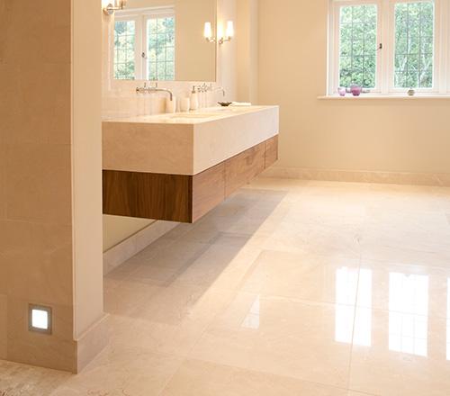 crema marfil honed marble flooring