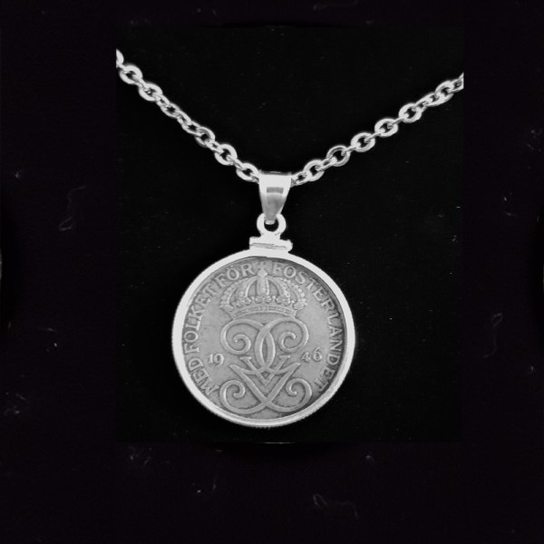SWEDEN Five Fem Ore 1946 .101oz 27.00×1.80 mm Coin Edge Bezel 49 ob 3