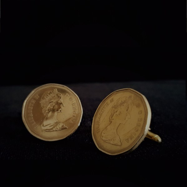 Canadia One Dollar 1987 Bronze Coin Cuff Links 26.45mm v4