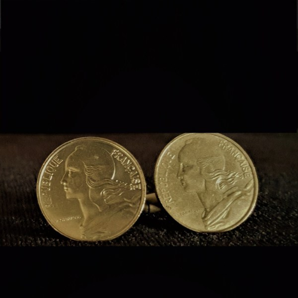 France Ten Centimes 1966 Bronze Cuflinks 20.00mm v2