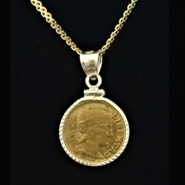 ARGENTINA Five Centavos 1944 Bronze .171 oz 1.3756 in 17.56 x 1.25mm Diamond Cut Bezel Gold Plated Chain 20+5+20= 69 OB MOD