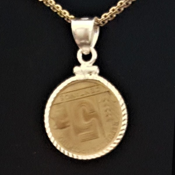 ARGENTINA Five Centavos 1944 Bronze .171 oz 1.3756 in 17.56 x 1.25mm Diamond Cut Bezel Gold Plated Chain 20+5+20= 69 rev