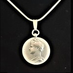 French Republique Francaise Silver Medal 1912 Signed Borrel A Jouclas Sterling Silver Snake Chain .80 oz1.0625 in x 27.00 x 1.07 mm 14+20.59 MOD
