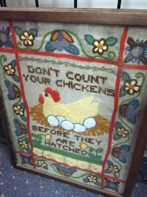 """Vintage """"Don't Count Your Chickens"""" Framed Needlepoint"""