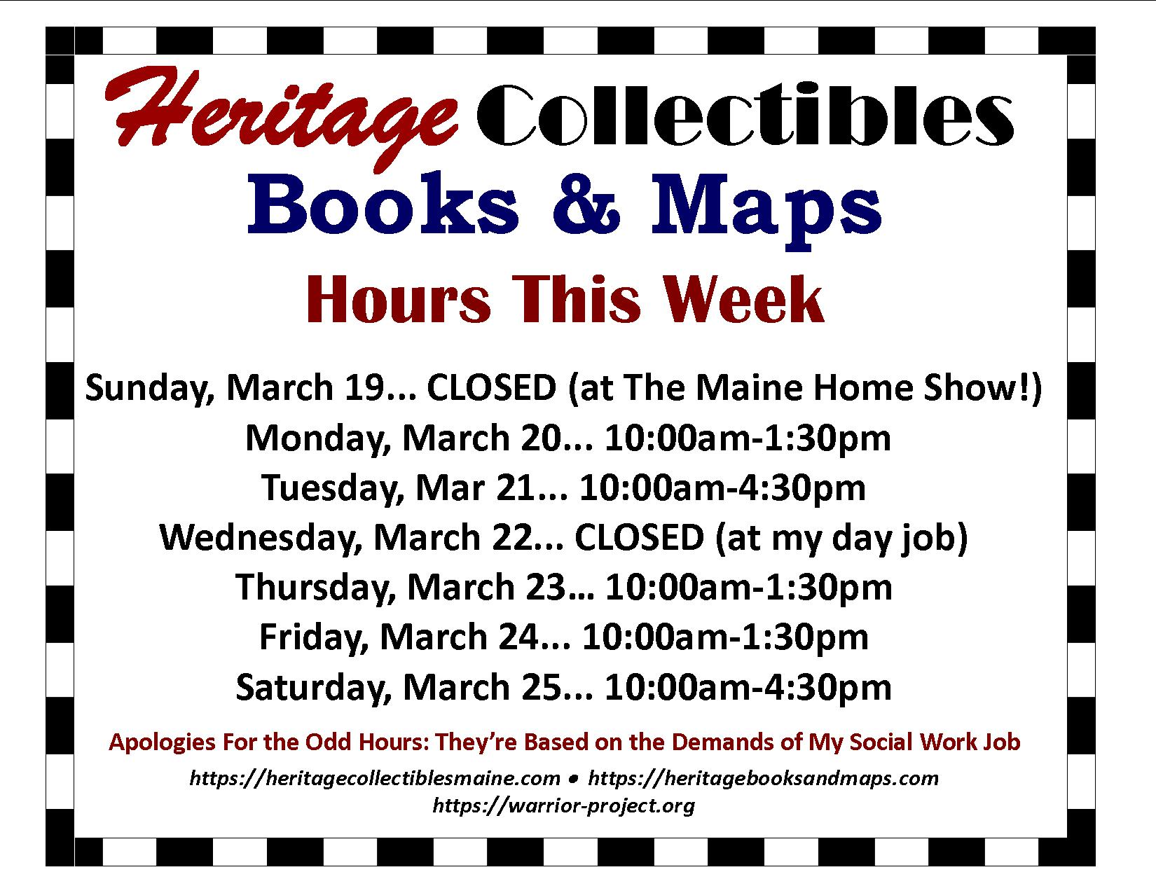 Hours for the Week of 03/19-03/25, 2017