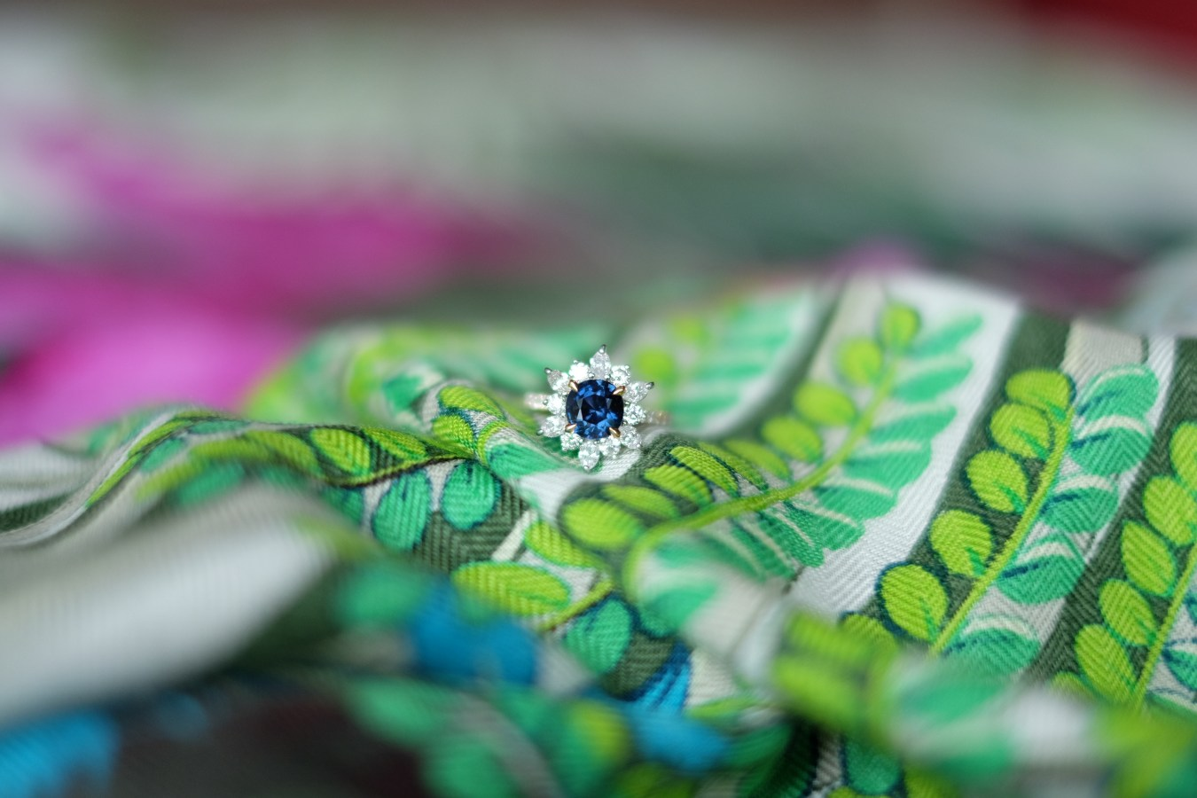 Colour Change Sapphire Ring Snowflake Design
