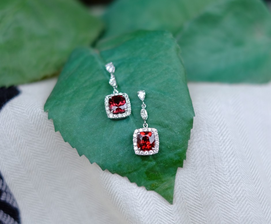 Red Garnet Bridal Dangling Earrings
