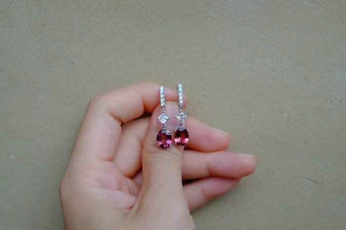 Pink Tourmaline Diamond Bridal Earrings