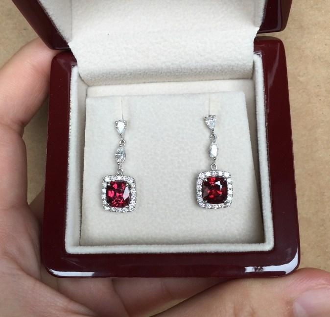 Red Garnet and Fancy Diamond Bridal Ear Drops