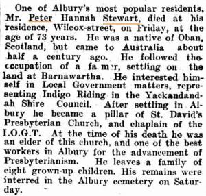 Albury Banner and Wodonga Express 19110217 Fri p31 Personal - Peter Hannah Stewart obit