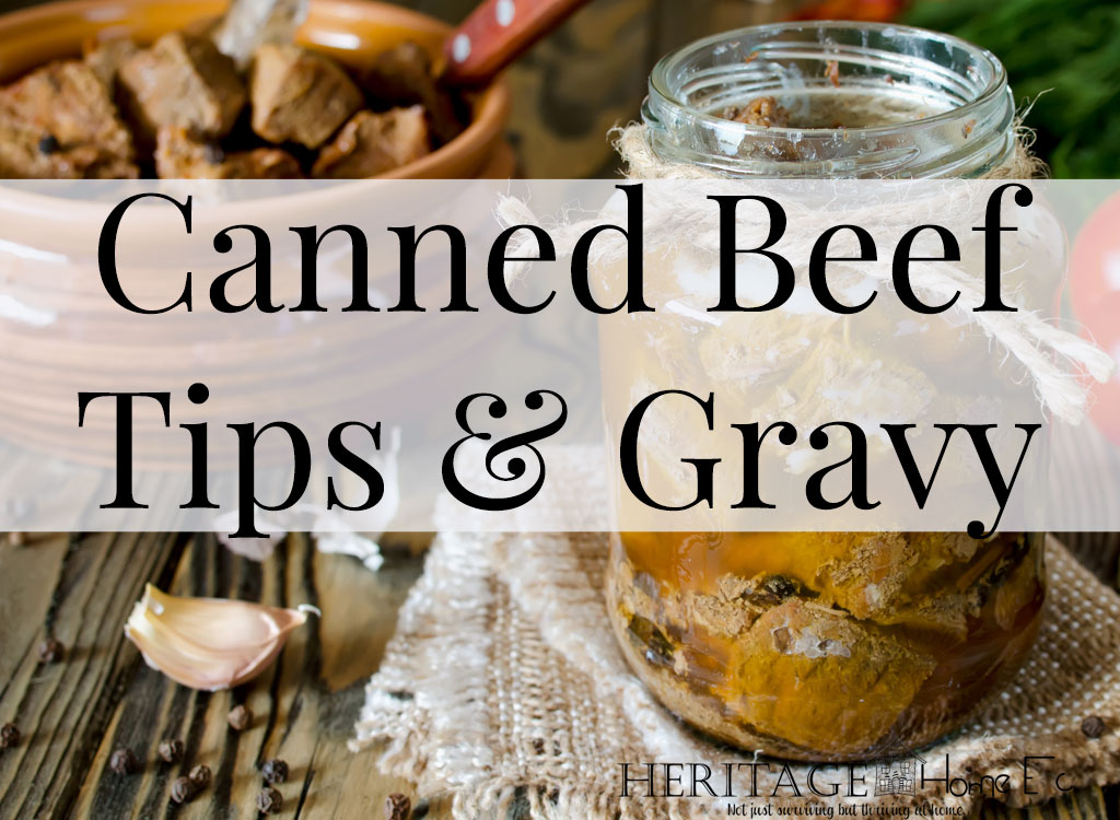 Canned Beef Tips and Gravy- Heritage Home Ec Having jars of this Canned Beef Tips & Gravy will make excellent meals! Reheat with vegetables, atop mashed potatoes, or mixed with cooked egg noodles. | Food | Recipes | Canning | Preserving | Freezer Cooking |