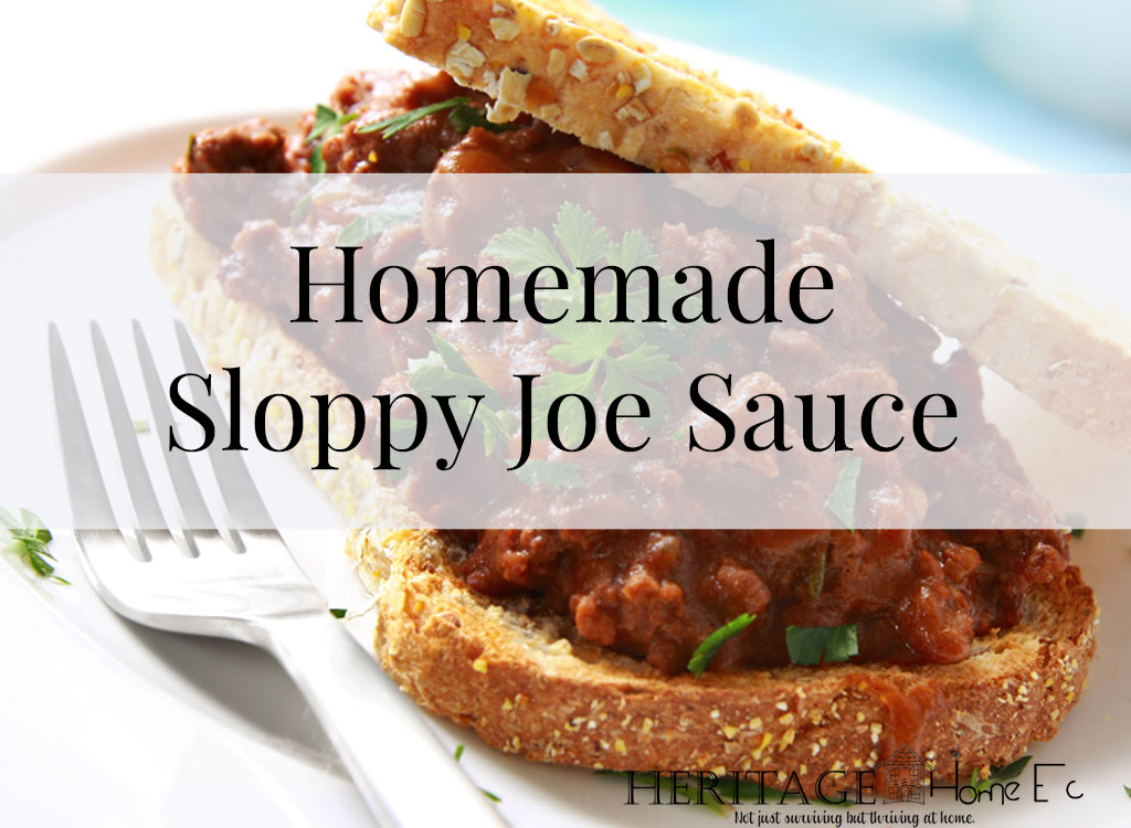 Homemade Sloppy Joe Sauce- Heritage Home Ec Who doesn't love a good ole Sloppy Joe? Make it better by making your own Homemade Sloppy Joe sauce! And you can CAN it too! | Canning | Recipes | Sloppy Joes | Homemade | Home Economics |