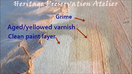 Careful removal of thin obscuring surface layers in a painting