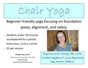 Meditative/Chair Movement with Susan Turnage, RN @ Heritage Public Library | New Kent | Virginia | United States
